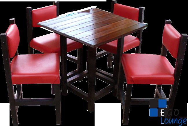 mesa chica con sillas en tactopiel tipo cairo con duela de madera
