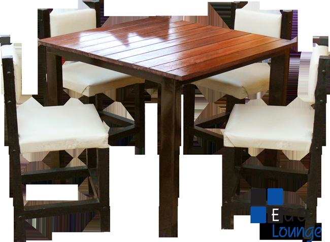 mesa chica con sillas en tactopiel tipo cairo con duela de madera comensal