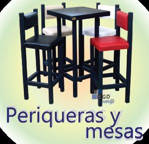 periqueras para bares mesa alta con bancos y sillas